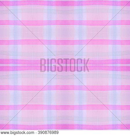 Purple Pajama Pattern. Woven Seamless Plaid Flannel. Watercolour Squares For Man Design. Girl Kids P