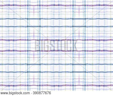 White And Blue Tartan Prints. Seamless Buffalo Tile. Irish Picnic Texture. Abstract Man Border. Trad