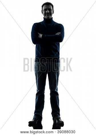 one causasian man full length in silhouette studio isolated on white background