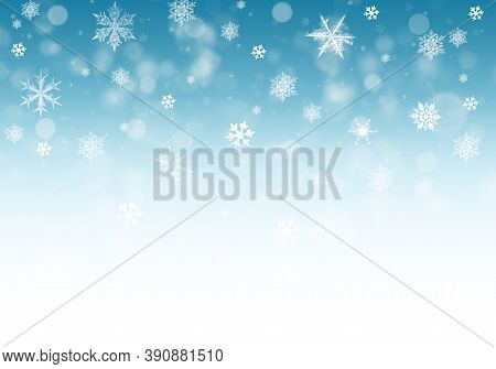 Snow Background. Blue Christmas Snowfall With Defocused Flakes. Winter Concept With Falling Snow. Ho