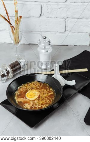 Noodles Bowl Ramen With Chicken And Egg, Japanese Food. Chinese Food. Thai Cuisine. Asian Fast Food
