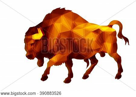 Bison, Bull, Isolated Amber Image On A White Background In A Low-poly Style