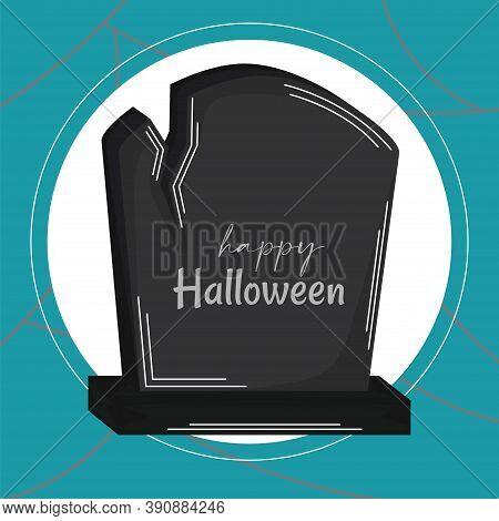Broken Headstone. Happy Halloween Card - Vector Illustration