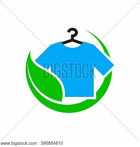 Eco Laundry Dry Cleaner Logo Design Template Vector. T Shirt And Leaf Concept Ecology