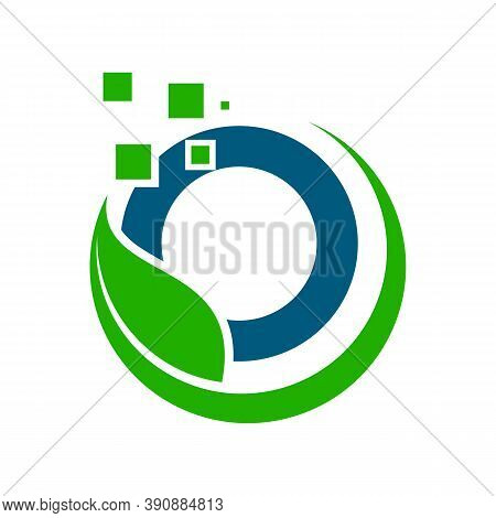 Best Vector Letter O Symbol With Leaf And Bubble On The Blue Background. Letter O Symbol For Your Be