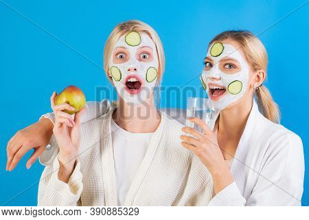 Spa And Wellness. Girls Friends Sisters Making Clay Facial Mask. Anti Age Mask. Stay Beautiful. Skin