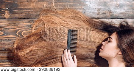 Perfect Hair. Blonde Brunette Long Hair. Perfect Woman Wood Background. Beauty And Perfect Health Ha