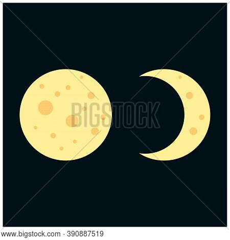 Moon In Flat Dasign Style. Night Space Astronomy And Nature Moon Icon. Gibbous Vector On Dark Backgr