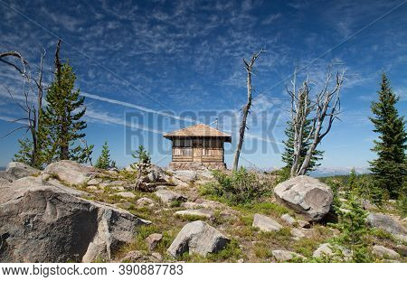 Observation Peak Lookout On The Summit Of Observation Peak In Yellowstone National Park, Wyoming
