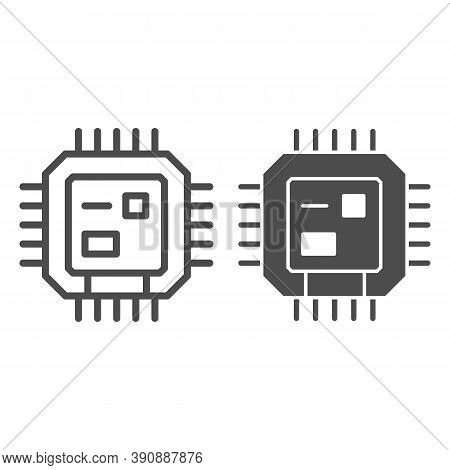 Central Processing Unit Line And Solid Icon, Robotization Concept, Cpu Sign On White Background, Com