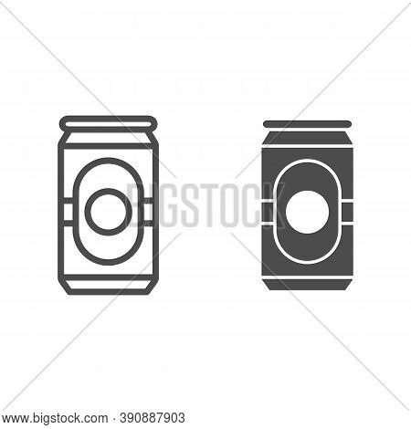Beer In Can Line And Solid Icon, Oktoberfest Concept, Beverage Can Sign On White Background, Aluminu