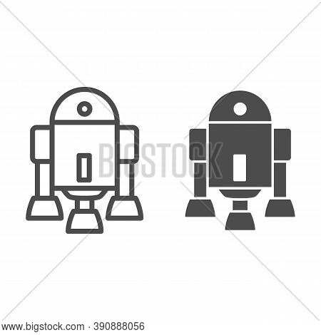 Android Robot Line And Solid Icon, Robotization Concept, Android Symbol Figure Sign On White Backgro