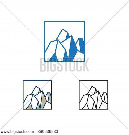 Square Hard Stone Rocky Mountain Cliff Nature Logo