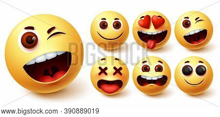 Emoji Vector Set. Emoticons Yellow Face Cute Emojis With Funny, Happy, Naughty And In Love Facial Ex