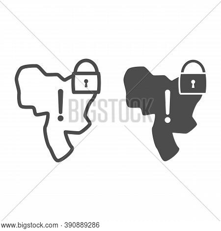Country Under Lock And Warning Sign Line And Solid Icon, Economic Sanctions Concept, Country Lockdow