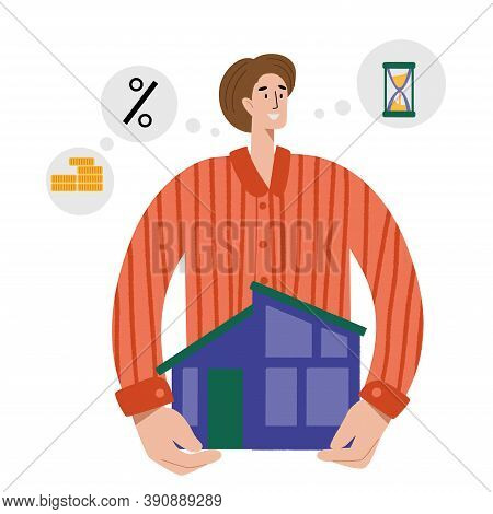 A Man Bought A House With A Mortgage. The Family Buys A House With A Mortgage. A Young Couple Choose