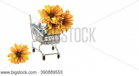 Bouquet Of Yellow Chrysanthemum Flowers In Small Shopping Trolley Isolated On White Background, Copy