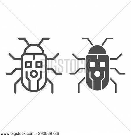 Robot Beetle Line And Solid Icon, Robotization Concept, Robot Bug Sign On White Background, Robotic