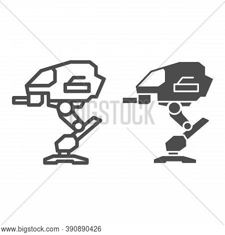 Robot Warrior Line And Solid Icon, Robotization Concept, Mechanical Robotic Weapon Sign On White Bac