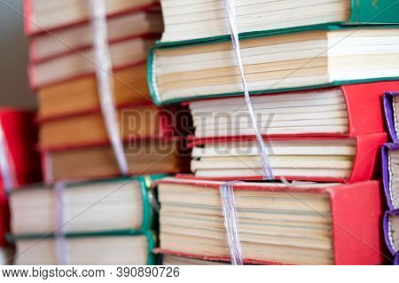 Education Learning Concept Stack Of Books In Library