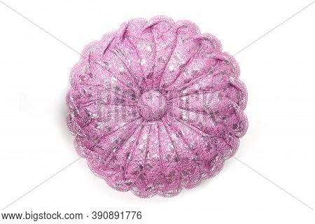 Top View Of Handmade Gift Pumpkin Pillow For Auspicious Ceremony Isolated On White Background.