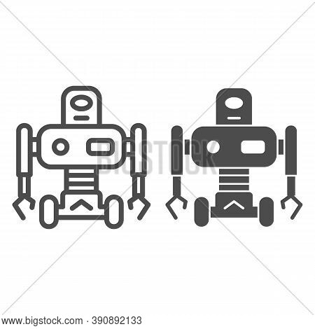 Robot On Wheels Line And Solid Icon, Robotization Concept, Robotic Humanoid Sign On White Background