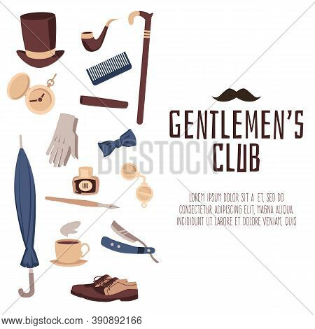 Gentlemens Club Banner With Vintage Male Fashion Items Vector Illustration.