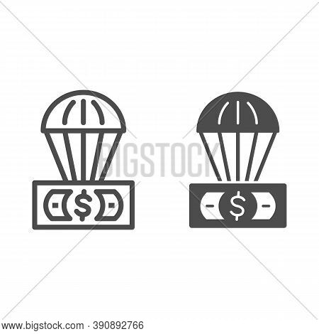 Dollar And Air Balloon Line And Solid Icon, Finance Concept, Unsecured Currency In Air Sign On White