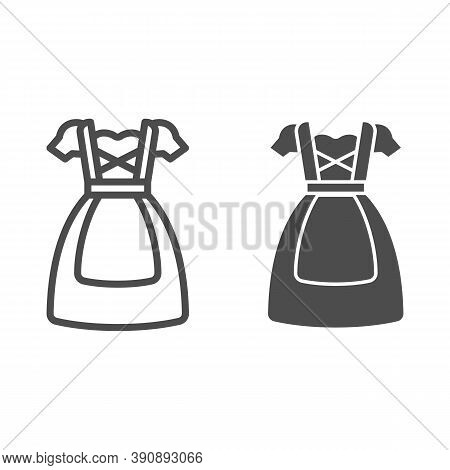 Oktoberfest National Dress Line And Solid Icon, Oktoberfest Concept, Bavarian Woman Dress Sign On Wh