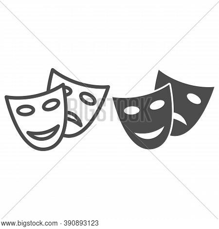 Theatrical Masks Line And Solid Icon, Sea Cruise Concept, Masquerade Sign On White Background, Funny