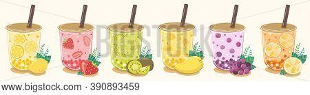 Lemon Flavored Fruit Tea Strawberry  Kiwi  Mango  Blueberry And Orange Refreshing Drink.contained In