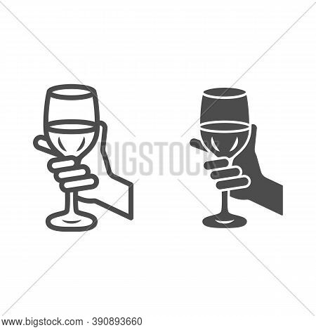 Glass Of Wine In Hand Line And Solid Icon, Wine Festival Concept, Glass Of Wine In Person Palm Sign