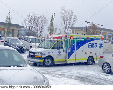 Calgary, Alberta, Canada. Oct 20, 2020. An Emergency Medical Services Ambulance 9-1-1, Alberta Healt