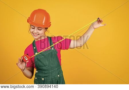 Size. Teen Girl In Hard Hat And Uniform. Building And Construction. Concept Of Repair. Little Girl U