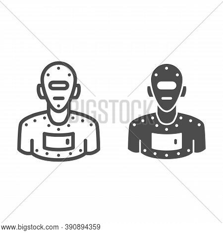 Steel Robot Line And Solid Icon, Robotization Concept, Cyborg Robot Sign On White Background, Roboti