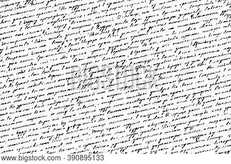 Vintage Ink-written Illegible Letter Texture. Monochrome Background Of An Old Unreadable Handwritten