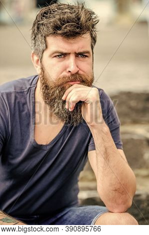 Making Important Choices. Man With Beard And Mustache Thoughtful Troubled. Hipster With Beard Though