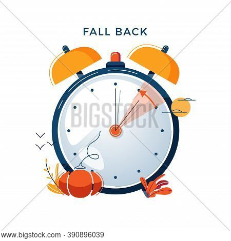 Daylight Saving Time Concept. Autumn Landscape With Text Fall Back, The Hand Of The Clocks Turning T