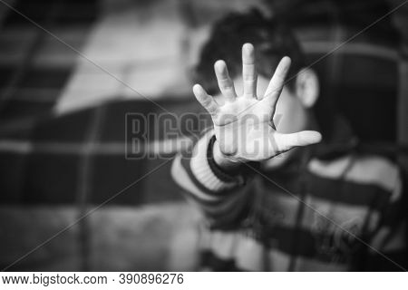 Stop Abusing Violence. Terrified Fearful Child. End To Violence Against Child.black And White.