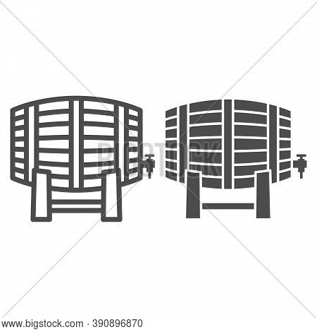 Barrel Of Wine Line And Solid Icon, Wine Festival Concept, Alcohol, Wine, Beer Or Whiskey Wood Keg S
