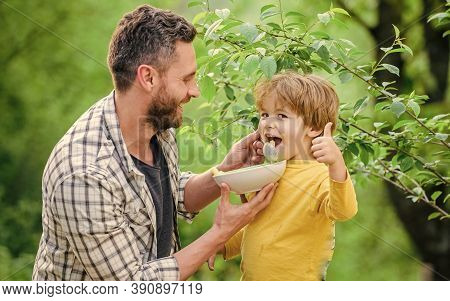 Son And Father Eating Outdoor. Morning Breakfast. Healthy Food And Dieting. Dairy Products. Happy Fa