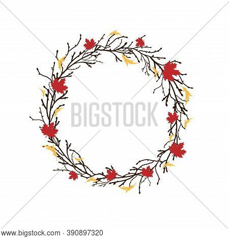Round Wreath With Black Branches And Twigs And Autumn Leaves.