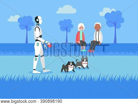 Futuristic Artificial Intelligence Supporting Pensioners With Walking Dogs Outside. Art Illustration