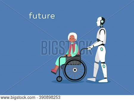 Clipart Illustration Of Cyborg Assistances And Cares About Grandmother She Sits On Wheelchair. Futur