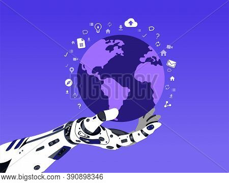 Illustration Of Futuristic Hand Of Cyborg It Holds A Planet With Media Icons Around In Dark Purple B