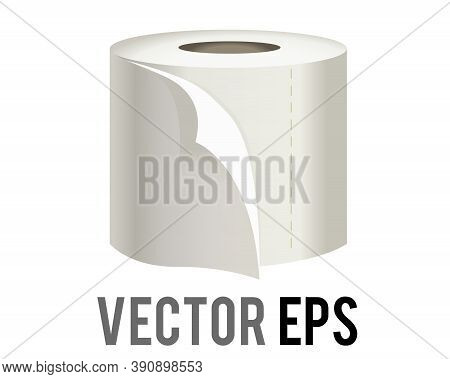 The Isolated Vector Roll Of White Toilet, Washroom Or Kichen Tissue Paper Icon With Sheet Unfurling