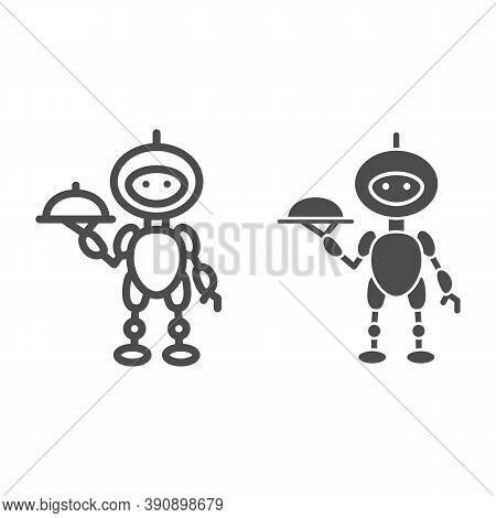 Robot Waiter Line And Solid Icon, Robotization Concept, Future Restaurant Service Sign On White Back