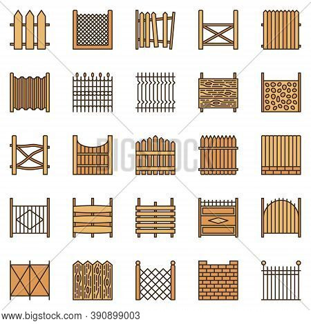 Fences Colored Icons Collection - Vector Fence Creative Signs