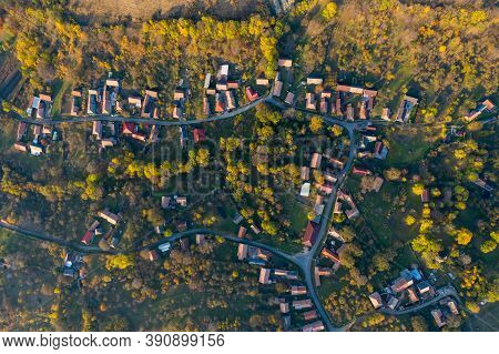 Aerial Drone Point Of View Of Village Streets In The Autumn