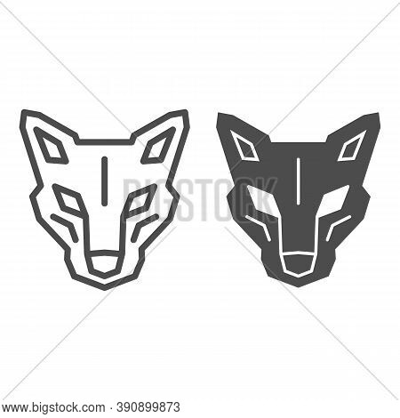 Robot Dog Head Line And Solid Icon, Robotization Concept, Robotic Wolf Sign On White Background, Hea